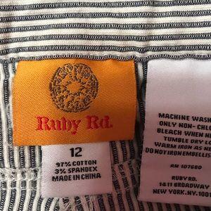 Ruby Rd. Pants - Blue & White seersucker capris by Ruby Rd, size 12